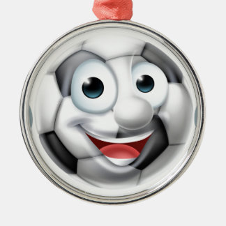 Soccer Football Ball Man Cartoon Character Silver-Colored Round Decoration