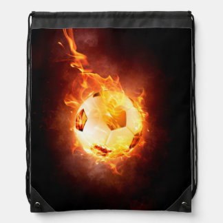 Soccer, Football, Ball under Fire Drawstring Bag