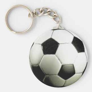 Soccer - Football Basic Round Button Key Ring