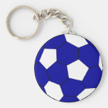 Soccer football blue and white keychains
