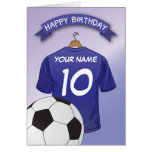 Soccer Football Blue Shirt Custom Sports Birthday Greeting Card