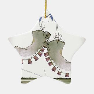 soccer football blue team boots christmas ornament