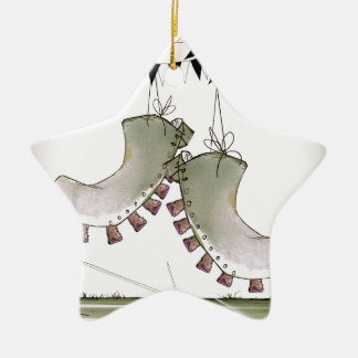 soccer football boots b + w team christmas ornament