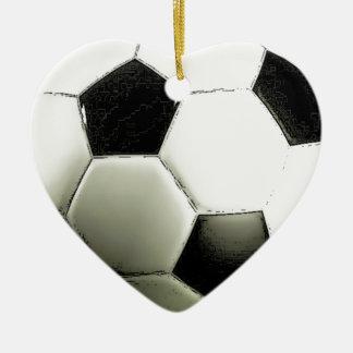 Soccer - Football Double-Sided Heart Ceramic Christmas Ornament