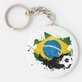 soccer football over brazil flag painting porte-clé
