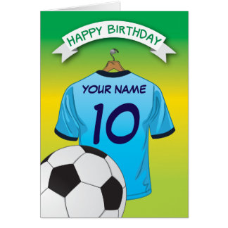 Soccer Football Pale Blue Shirt Sports Birthday Card