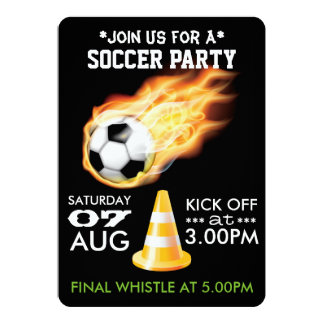 Soccer/Football Party Personalized Black 13 Cm X 18 Cm Invitation Card