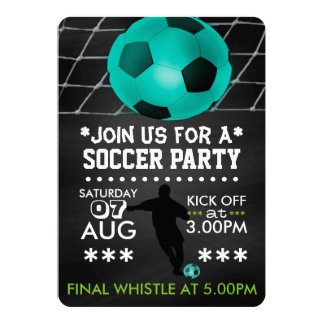 Soccer/Football Party Personalized Cool Chalkboard 5x7 Paper Invitation Card