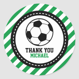 Soccer Football Party Thank You Favor Tags Round Sticker