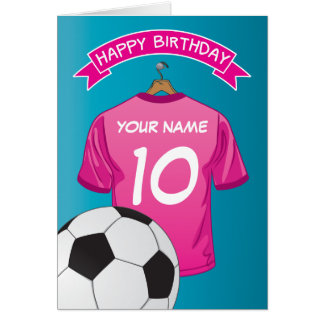 Soccer Football Pink Girls Shirt Sports Birthday Card