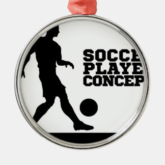 Soccer Football Player Concept Silhouette Silver-Colored Round Decoration