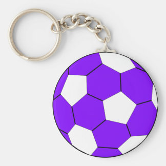 Soccer football purple and white key ring