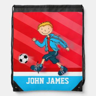 Soccer / football red blue name drawstring bag