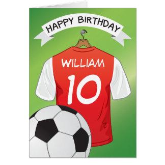 Soccer Football Red Shirt Custom Sports Birthday Greeting Card