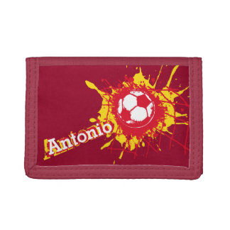 Soccer / football red yellow named score wallet