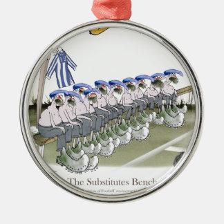 soccer football subs blue white stripes christmas ornament