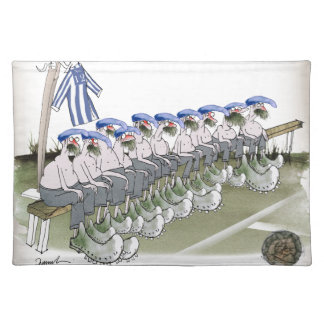 soccer football subs blue white stripes placemat