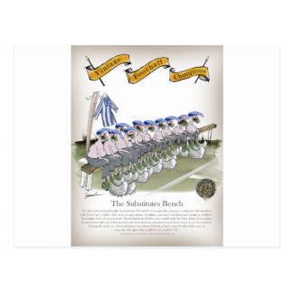 soccer football subs blue white stripes postcard
