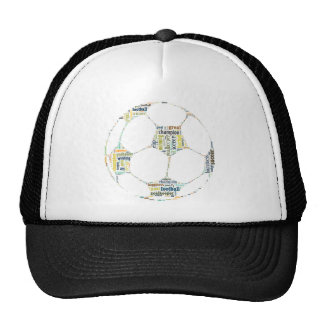 Soccer Football  Word Tag Cloud Mesh Hat