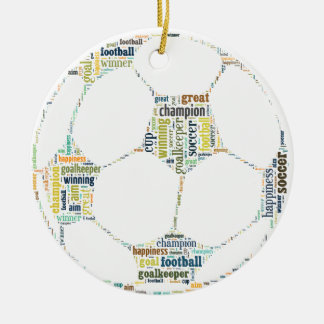 Soccer Football  Word Tag Cloud Round Ceramic Decoration