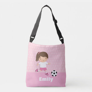 Soccer Footballer Girl Pink Personalized Tote Bag