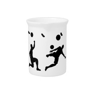 Soccer Footballer Silhouettes Beverage Pitchers