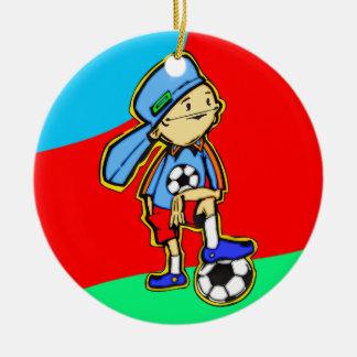 Soccer Game Round Ceramic Decoration