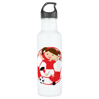 Soccer Girl 1 and Ball Red and White 710 Ml Water Bottle