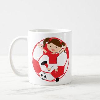 Soccer Girl 1 and Ball Red and White Basic White Mug