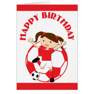 Soccer Girl 1 and Ball Red and White Greeting Card