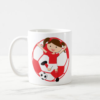 Soccer Girl 1 and Ball Red and White Coffee Mug