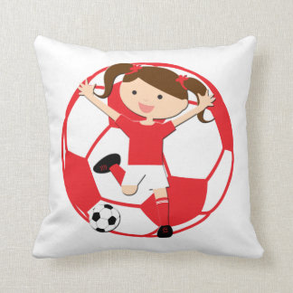 Soccer Girl 1 and Ball Red and White Pillow