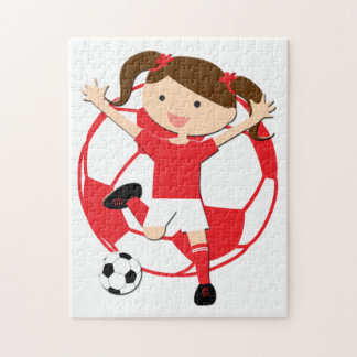 Soccer Girl 1 and Ball Red and White Jigsaw Puzzle