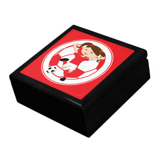 Soccer Girl 1 and Ball Red and White Large Square Gift Box