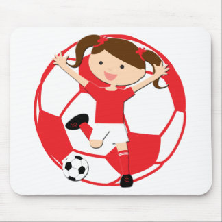 Soccer Girl 1 and Ball Red and White Mouse Pad