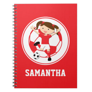 Soccer Girl 1 and Ball Red and White Note Books