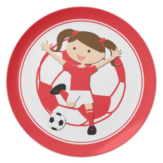 Soccer Girl 1 and Ball Red and White Dinner Plates