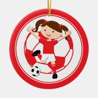 Soccer Girl 1 and Ball Red and White Round Ceramic Decoration