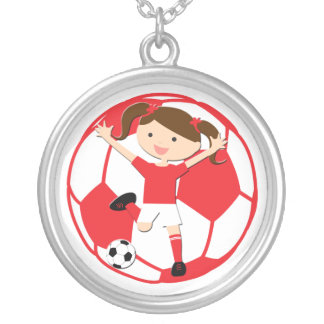 Soccer Girl 1 and Ball Red and White Round Pendant Necklace