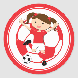 Soccer Girl 1 and Ball Red and White Round Sticker