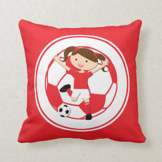 Soccer Girl 1 and Ball Red and White Throw Cushion