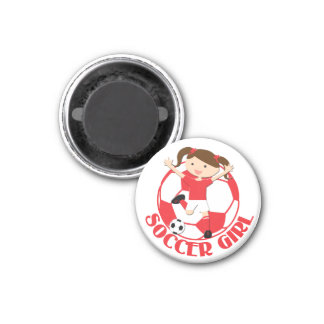 Soccer Girl 1 and Ball Red and White v2 3 Cm Round Magnet