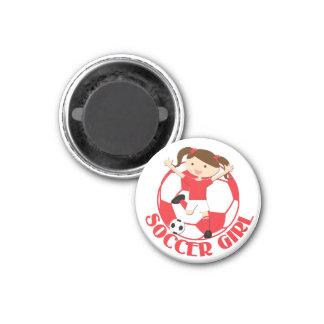 Soccer Girl 1 and Ball Red and White v2 3 Cm Round Magnet