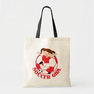 Soccer Girl 1 and Ball Red and White v2 Tote Bags