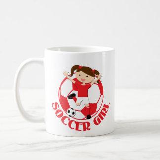 Soccer Girl 1 and Ball Red and White v2 Basic White Mug