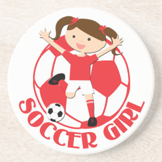 Soccer Girl 1 and Ball Red and White v2 Drink Coasters