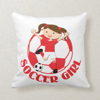 Soccer Girl 1 and Ball Red and White v2 Cushions