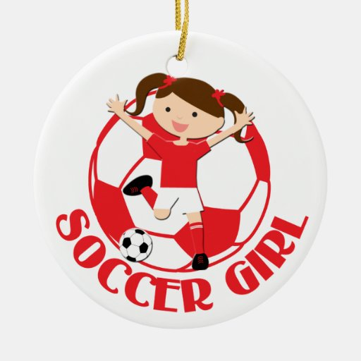 Soccer Girl 1 and Ball Red and White v2 Christmas Tree Ornaments