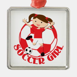 Soccer Girl 1 and Ball Red and White v2 Ornaments