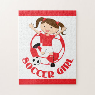 Soccer Girl 1 and Ball Red and White v2 Jigsaw Puzzle